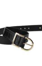 Colby Belt Black Croc/Gold