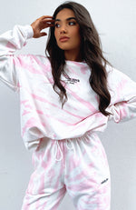 Eyes For You Oversized Sweater Pink Tie Dye