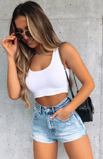 All For One Ribbed Crop White