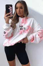 With Love Oversized Printed Hoodie Pink Tie Dye