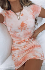 Weekend Dreaming Ribbed Mini Dress Peach Tie Dye