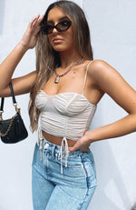 Wild Card Mesh Crop Beige