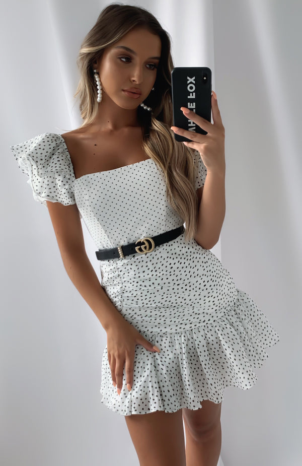 Different Sides Mini Dress White Polka Dot