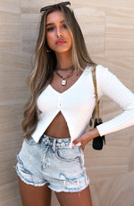 Karma Knit Top White
