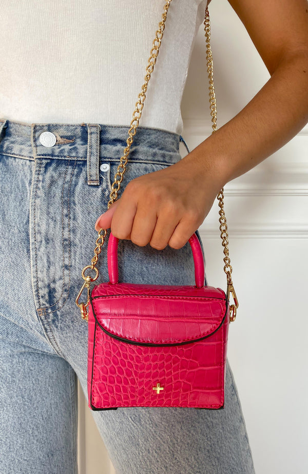 Georgia Mini Bag Fuchsia Croc