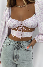 One Way Ticket Crop Lilac Print