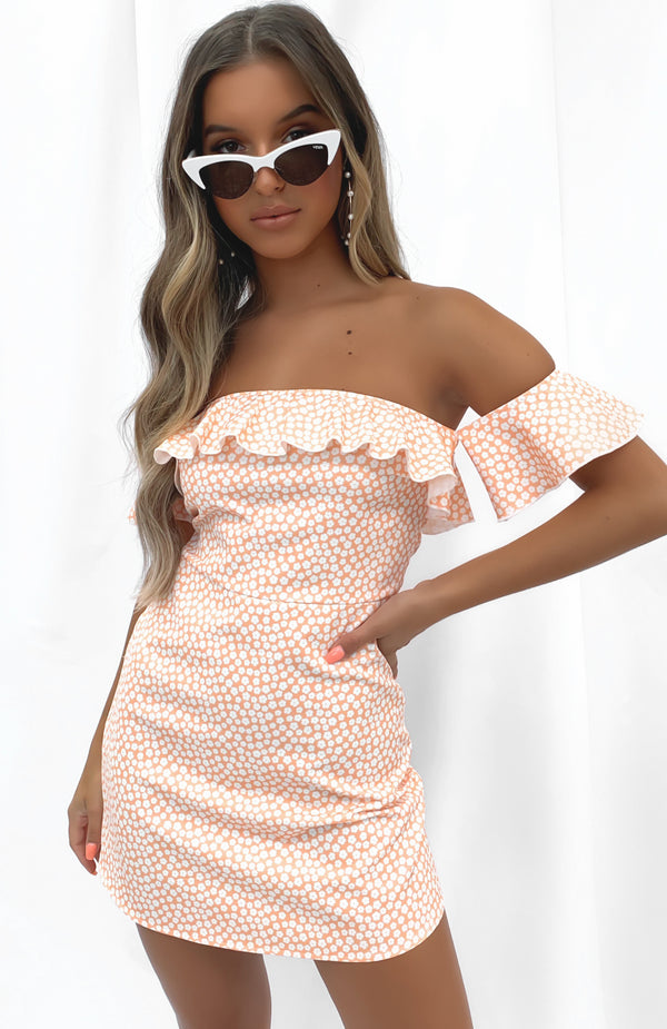 Major Cover Mini Dress Peach Print