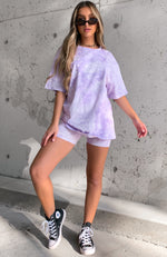 Signature Bike Shorts Lilac Tie Dye
