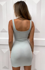 Feel The Same Ribbed Mini Dress Sage