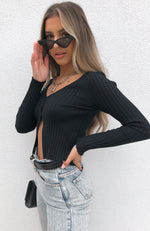 Karma Knit Top Black