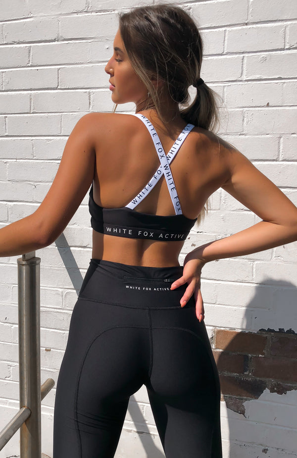 Poppy Logo Sports Bra Midnight