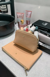 Joni Makeup Purse Nude Saffiano