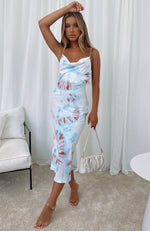 Amalfi Moment Midi Dress Blue Tie Dye