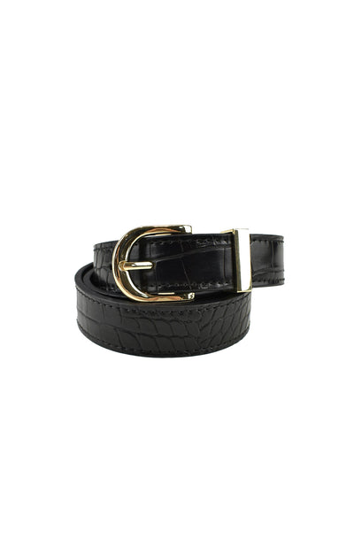 Kendrick Belt Black Croc/Gold