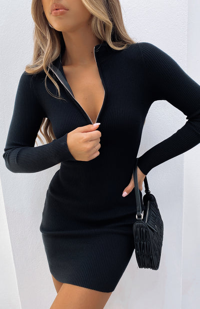 Kind Of Perfect Ribbed Long Sleeve Mini Dress Black