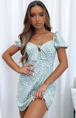 Like A Vision Mini Dress Sage Print