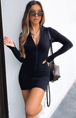 Lost In Your Eyes Long Sleeve Mini Dress Black