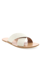 Majorca Slides Off White Linen