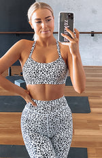 One Step Closer Sports Bra White Leopard