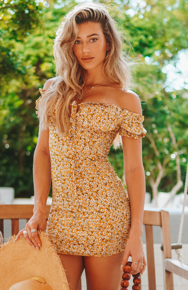 Force Of Nature Mini Dress Yellow Print