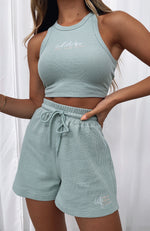 Self Love Club Relaxed Waffle Shorts Sage
