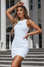 Self Love Club Waffle Mini Dress White