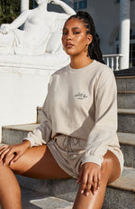 Self Love Club Long Sleeve Waffle Tee Sand