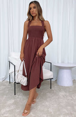 She's So Into You Midi Dress Chocolate