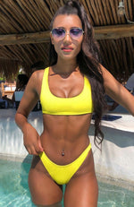 Palm Springs Bikini Top Yellow Rib