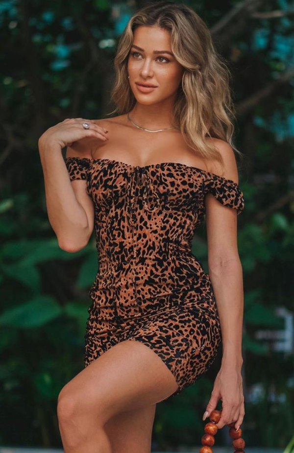 Smokeshow Mini Dress Tan Velvet