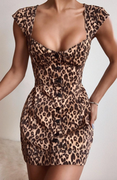 Hit Me Baby Mini Dress Leopard