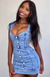 Hit Me Baby Mini Dress Mid Blue