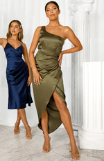 Night To Remember Midi Dress Olive