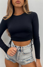 Another Time Ribbed Crop Black
