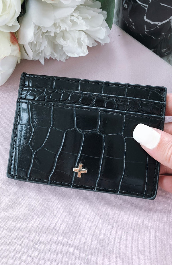 Izzy Card Holder Black Croc