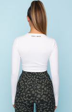 Femme Fierce Long Sleeve Crop White