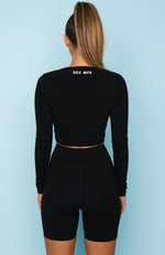 Femme Fierce Long Sleeve Crop Black
