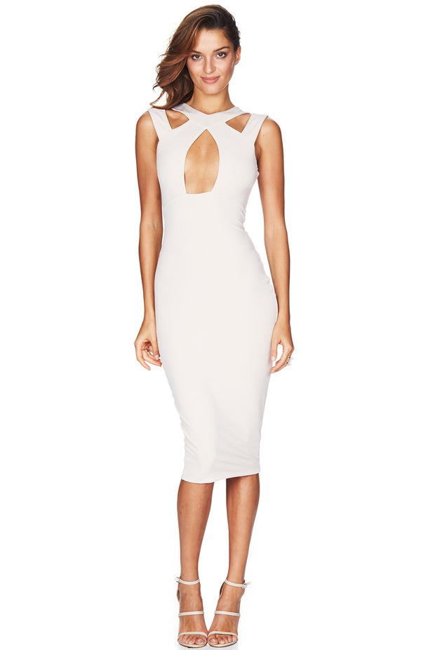 Galaxy High Neck Shift Dress Nude