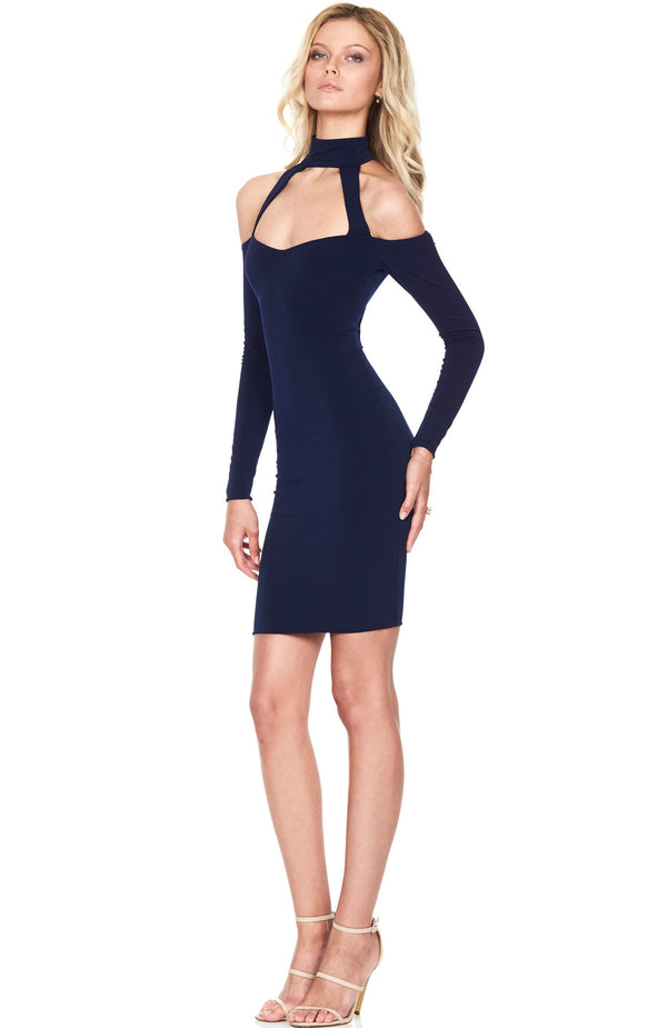 Girl Talk Off Shoulder Mini Dress Navy