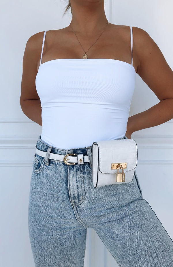 Hannah Belt Bag White Croc