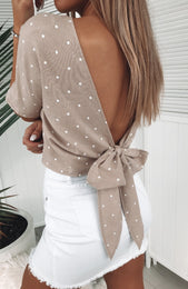 Written In The Stars Crop Beige Star Print