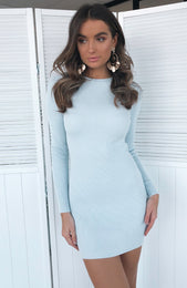 Lift Yourself Knit Dress Ice Blue