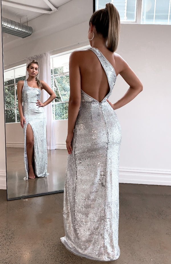 Set The Tone Maxi Dress Silver