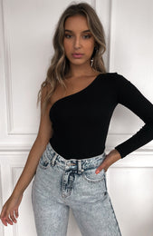 All Talk One Shoulder Bodysuit Black