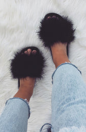 Kandi Fur Slides Black