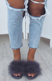 Kandi Fur Slides Grey