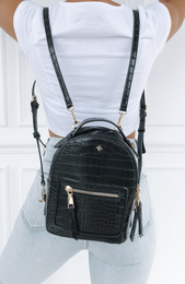 Zoe Mini Backpack Black Croc