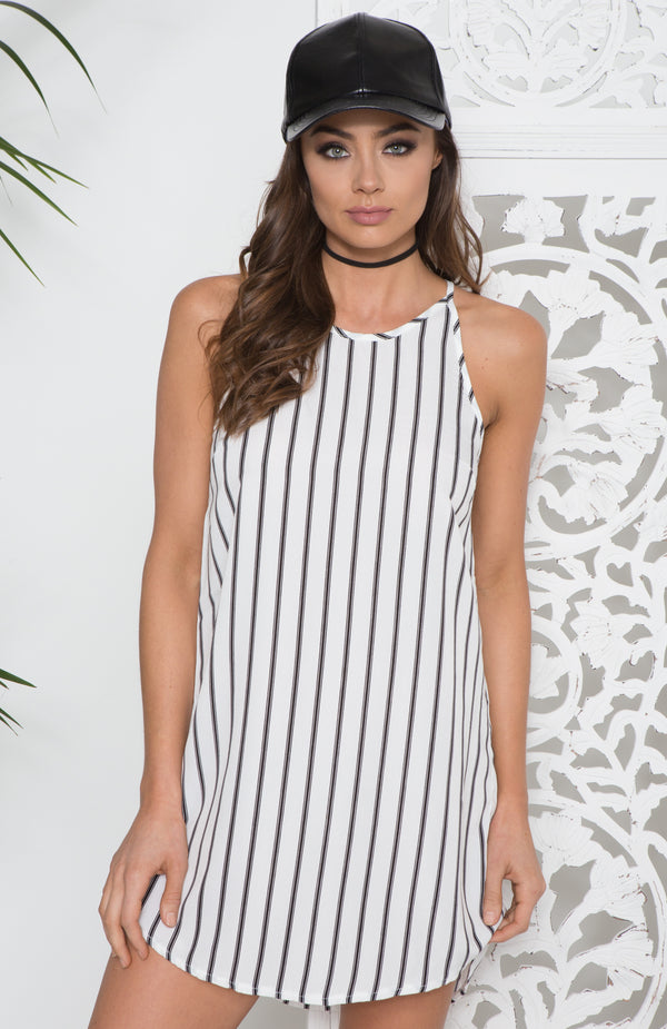 Line Up Dress White Stripe