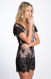 Tainted Lace Romper Black