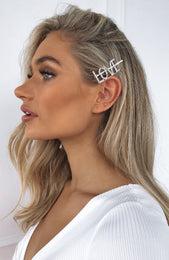 Strong Facts Diamante Hair Pin Love